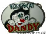 Korky the Cat Dandy Comic Belt Buckle + display stand. Code SD4